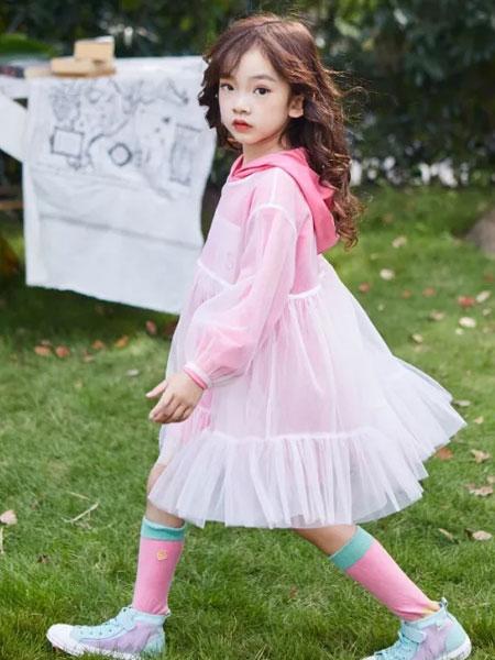 小资范童装品牌2020春夏新款粉色透纱公主裙