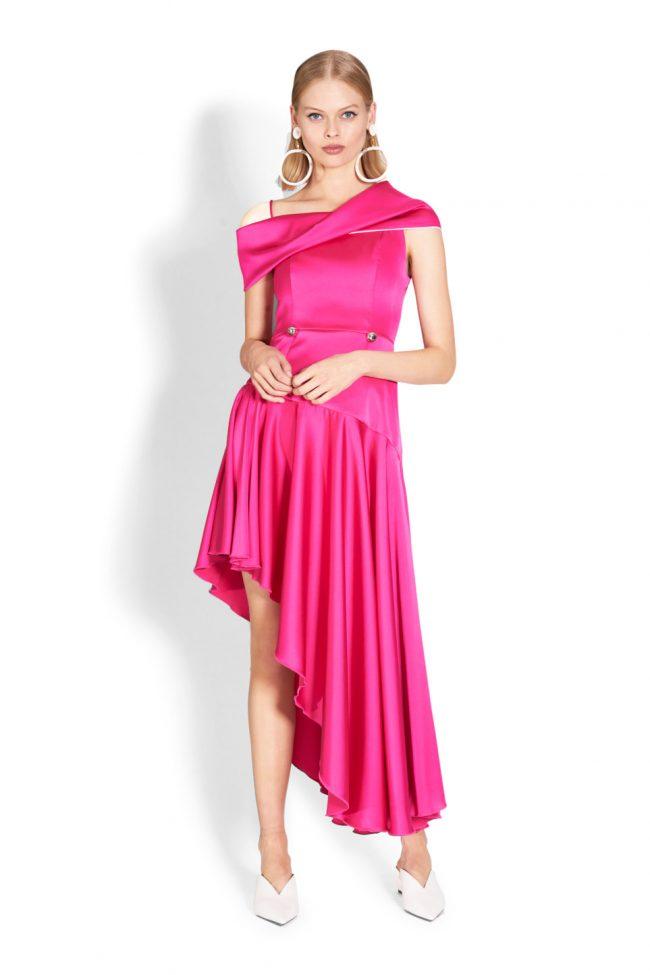 NICOLA FINETTI国际品牌品牌2020春夏新款纯色亮面露肩吊带连衣裙
