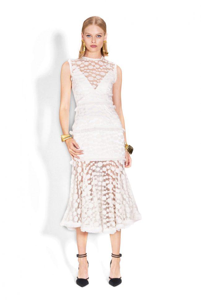 NICOLA FINETTI国际品牌品牌2020春夏新款白色蕾丝无袖连衣裙