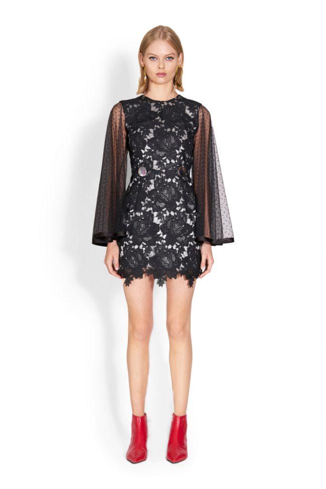 NICOLA FINETTI国际品牌品牌2020春夏新款纯色蕾丝缕空连衣裙
