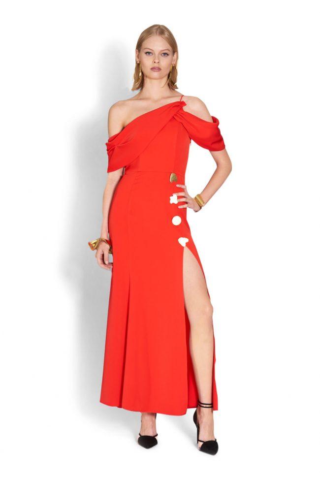 NICOLA FINETTI国际品牌品牌2020春夏新款纯色开叉露肩性感连衣裙