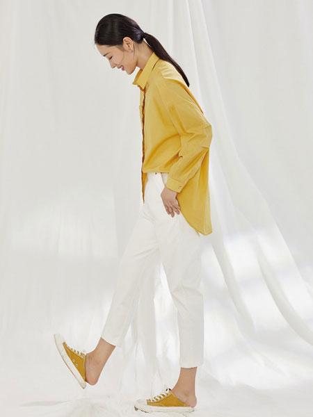 角度女装品牌2020春夏新款黄色长袖上衣
