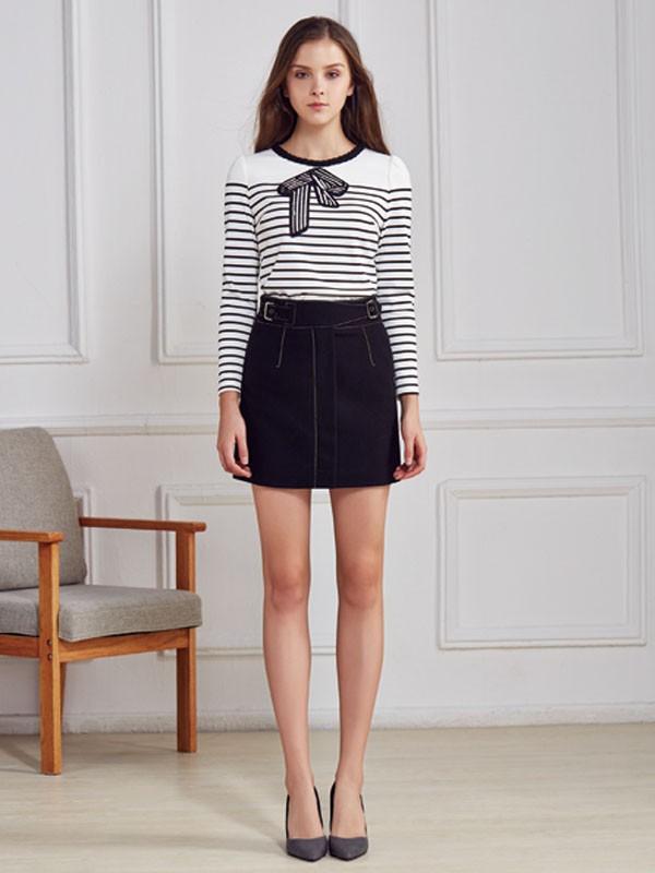 都市衣柜女装品牌2020春夏新款纯色条纹长袖上衣