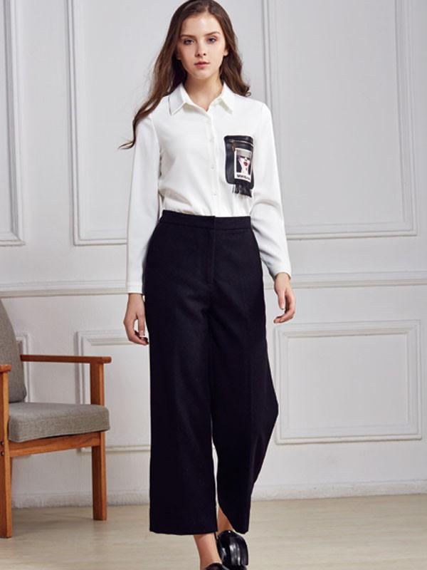 都市衣柜女装品牌2020春夏新款纯色图案纽扣衬衫