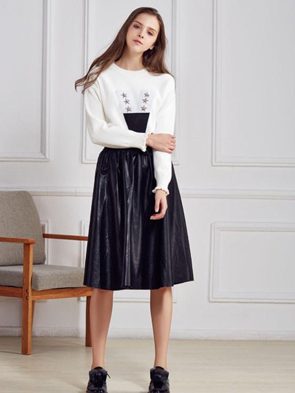 都市衣柜女装品牌2020春夏新款纯色气质连衣裙