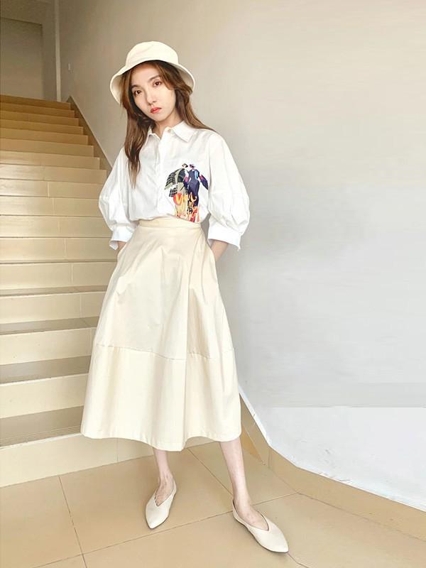 薇薇希女装品牌2020春夏新款纯色刺绣上衣衬衫