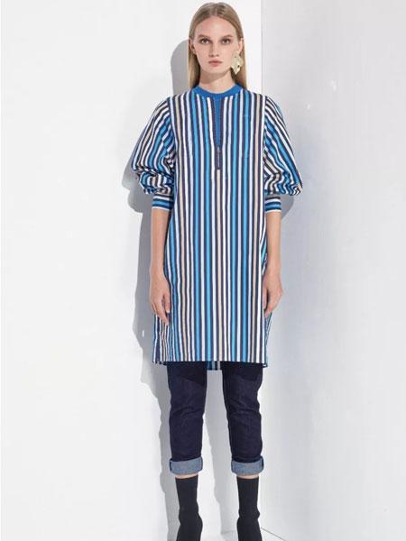 洛瑞琳女装品牌2020春夏新款条纹系带大衣