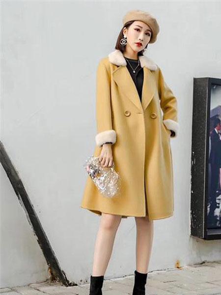 Gircher/Jinlijia女装品牌2020春夏新款翻领气质毛呢大衣