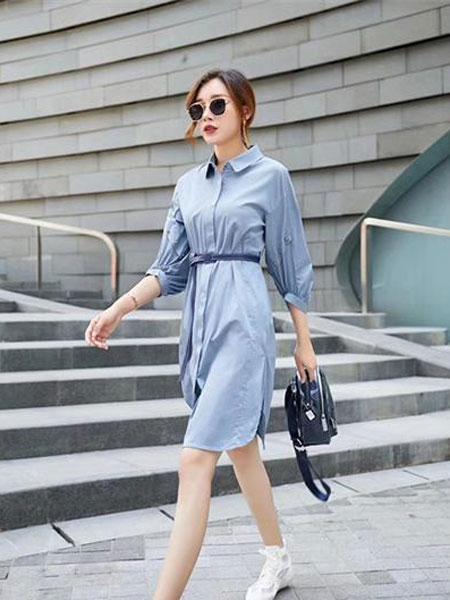 Gircher/Jinlijia女装品牌2020春夏新款纯色气质连衣裙