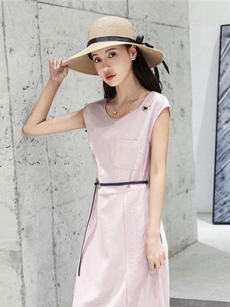 Gircher/Jinlijia女装品牌2020春夏新款无袖纯色连衣裙