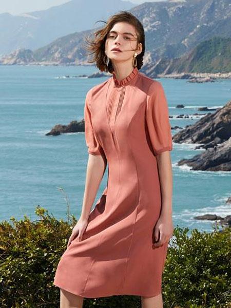 千桐女装品牌2020春夏新款纯色气质连衣裙