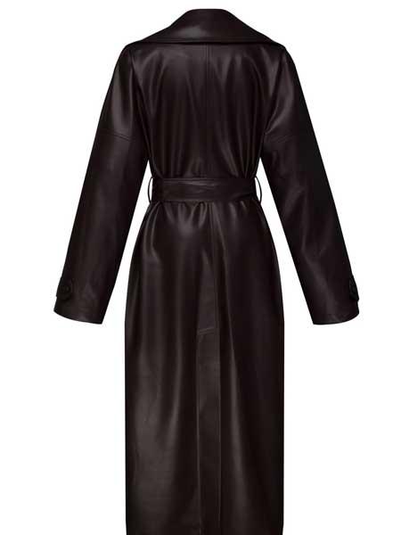 Olenich国际品牌品牌2019秋冬纯色真皮气质风衣