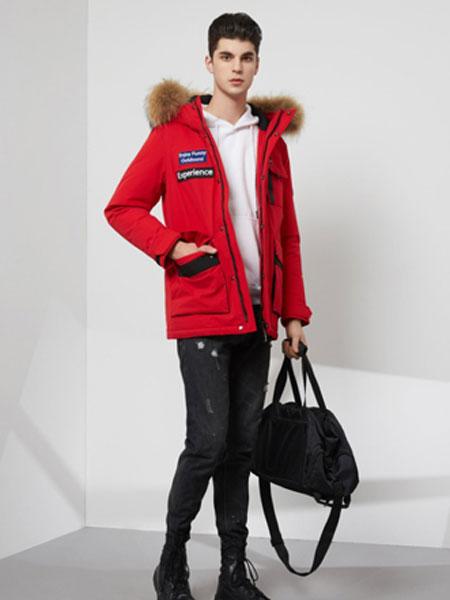 芬尼杰奥男装品牌2020秋冬新款纯色小标带帽大毛领羽绒服
