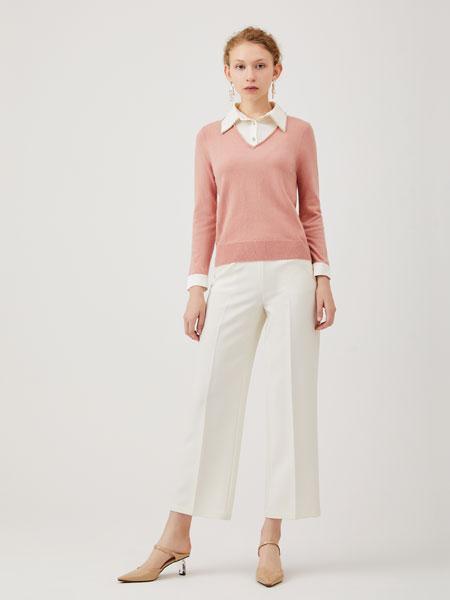 红凯贝尔女装品牌2020春夏新款纯色针织长袖上衣
