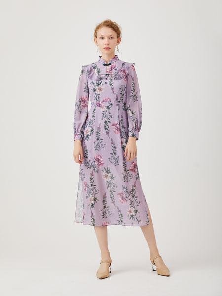 红凯贝尔女装品牌2020春夏新款碎花气质长款连衣裙