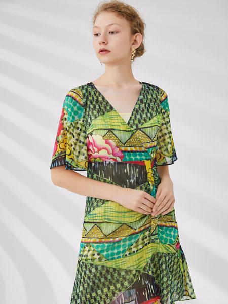 红凯贝尔女装品牌2020春夏新款印花气质连衣裙