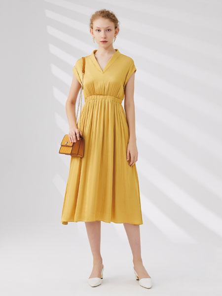 红凯贝尔女装品牌2020春夏新款纯色气质连衣裙