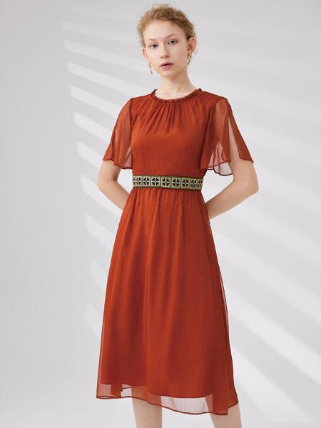 红凯贝尔女装品牌2020春夏新款纯色透纱连衣裙