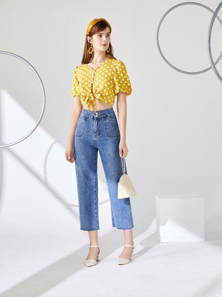 城市衣柜女装品牌2020春夏新款纯色波点真丝纽扣衬衫