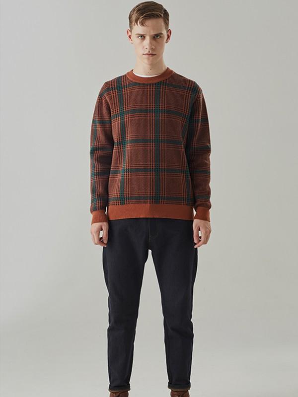 humodesign花门男装品牌2020秋冬新款纯色格子长袖毛衣