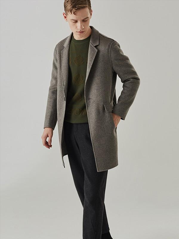 humodesign花门男装品牌2020秋冬新款纯色毛呢长款大衣