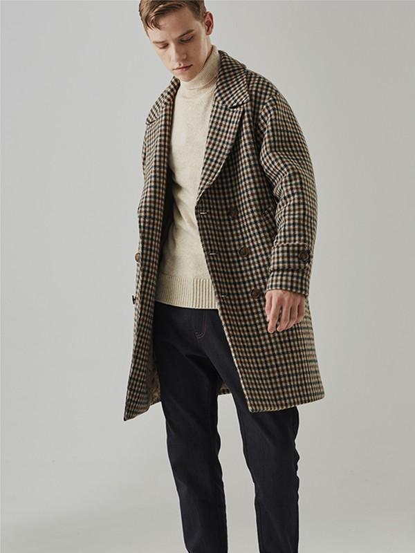 humodesign花门男装品牌2020秋冬新款纯色格子毛呢长款大衣