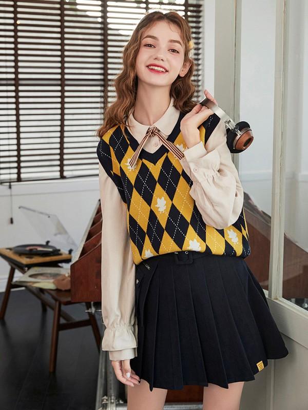毛菇小象mgxx女装品牌2020春夏新款纯色棱形马甲