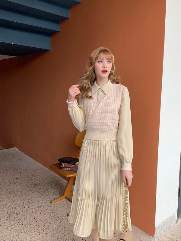 毛菇小象mgxx女装品牌2020春夏新款纯色气质连衣裙