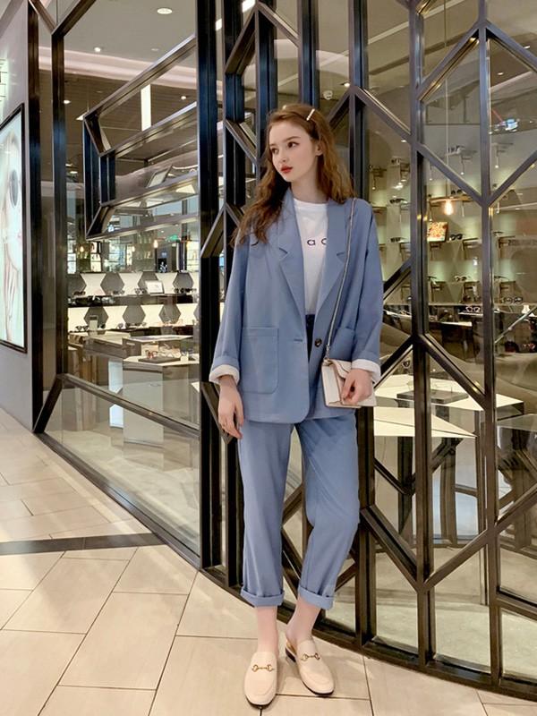 毛菇小象mgxx女装品牌2020春夏新款纯色ol气质西装套装