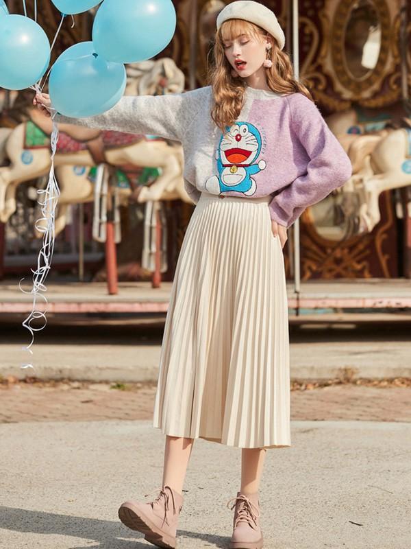 毛菇小象mgxx女装品牌2020春夏新款拼接色卡通图案长袖上衣