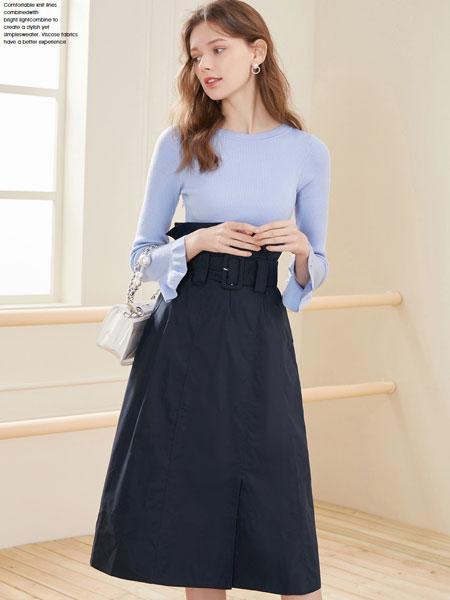 春美多女装品牌2020春夏新款纯色针织气质长袖上衣
