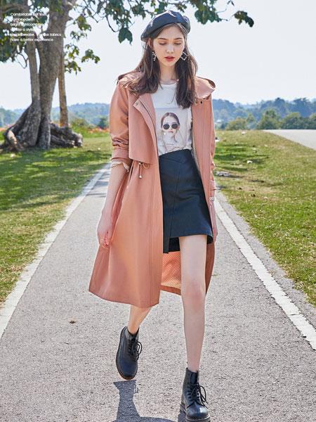 春美多女装品牌2020春夏新款纯色长款气质大衣