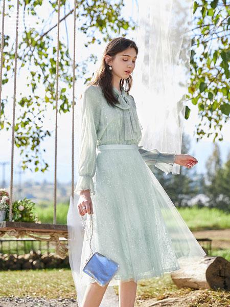 春美多女装品牌2020春夏新款纯色透纱气质连衣裙