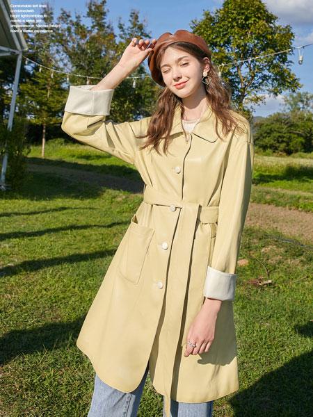 春美多女装品牌2020春夏新款纯色气质百搭系带式大衣