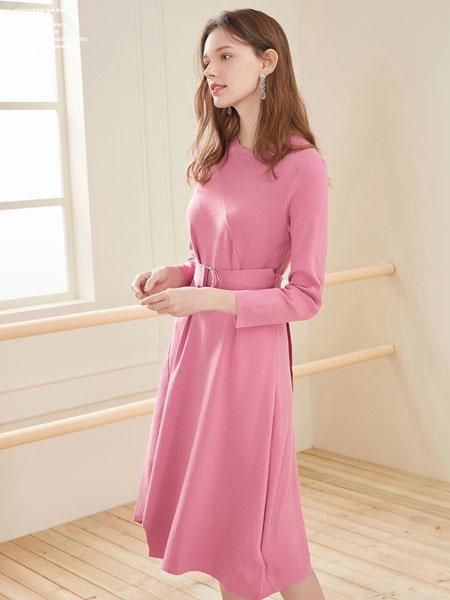 春美多女装品牌2020春夏新款纯色气质长款连衣裙