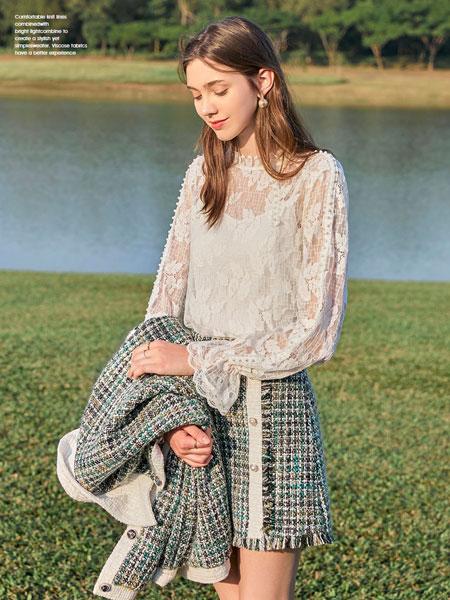 春美多女装品牌2020春夏新款纯色蕾丝缕空长袖上衣