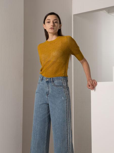 阿莱贝琳女装品牌2020春夏新款纯色针织长款短袖上衣