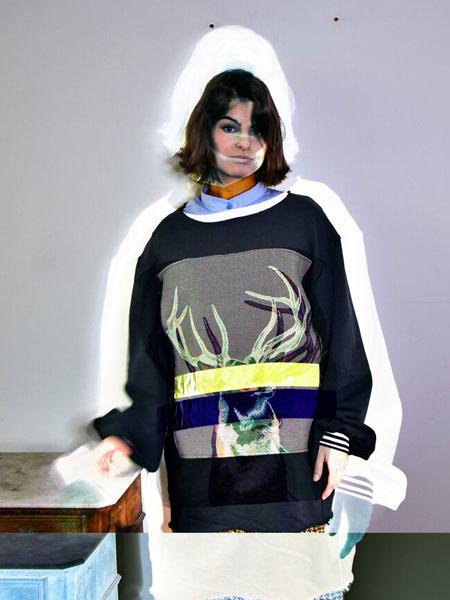 Remesalt国际品牌品牌2020春夏新款纯色图案长袖长款卫衣