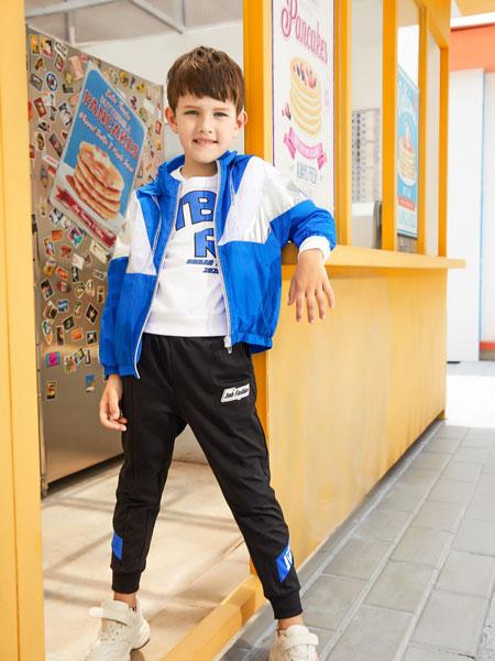 杰米熊童装品牌2020春夏新款拼接色长袖运动拉链外套