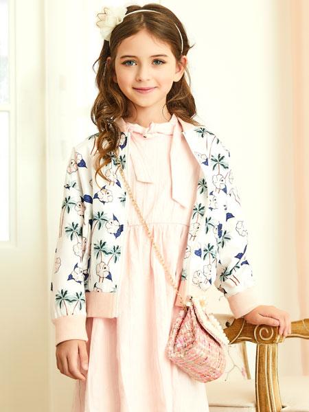 杰米熊童装品牌2020春夏新款纯色印花纽扣夹克