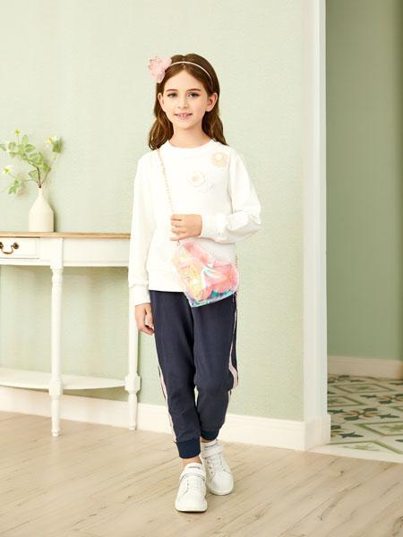 杰米熊童装品牌2020春夏新款纯色针织长袖毛衣