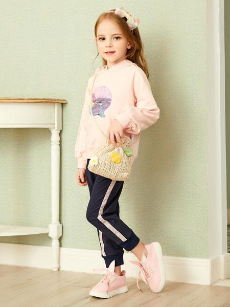 杰米熊童装品牌2020春夏新款纯色图案带帽卫衣