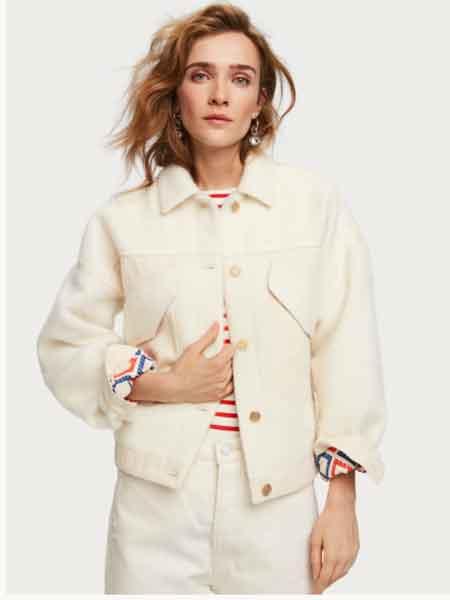 苏格兰苏打国际品牌2020秋冬超大号羊毛混纺卡车司机夹克