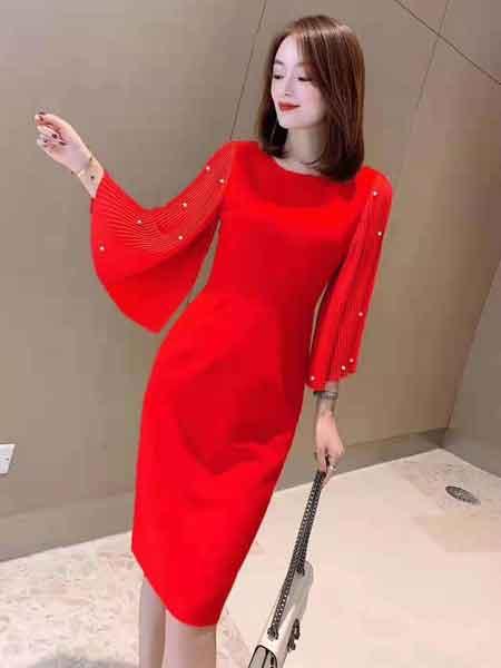 雨珊女装品牌2020春夏新款气质纯色连衣裙