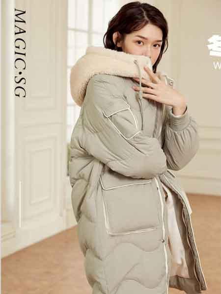 幻彩四季女装品牌2020秋冬新款纯色毛呢帽子长款羽绒服