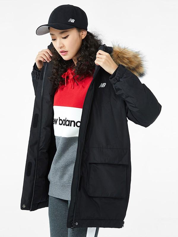 New Balance服装品牌2019秋冬新款纯色大毛领羽绒夹克