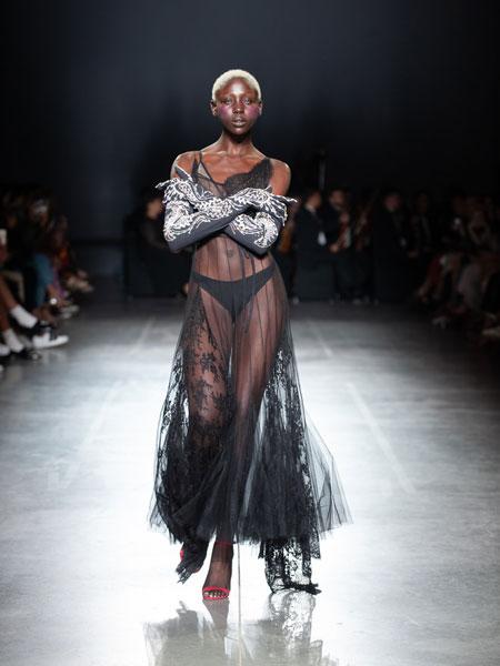 Frolov国际品牌品牌2020春夏蕾丝落地网纱连衣裙