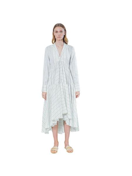 Janesuda国际品牌品牌2020春夏开领衬衫裙