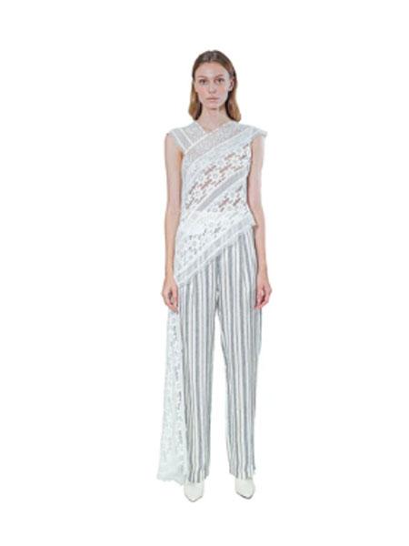 Janesuda国际品牌品牌2020春夏长款不对称蕾丝上衣