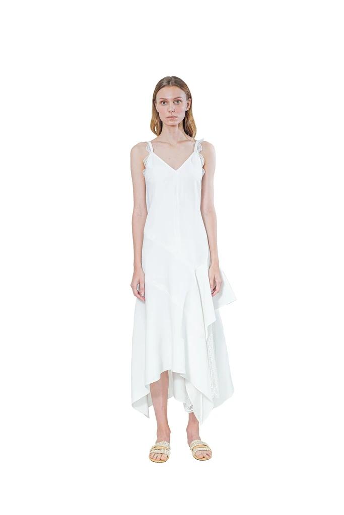 Janesuda国际品牌品牌2020春夏蕾丝意粉吊带连衣裙